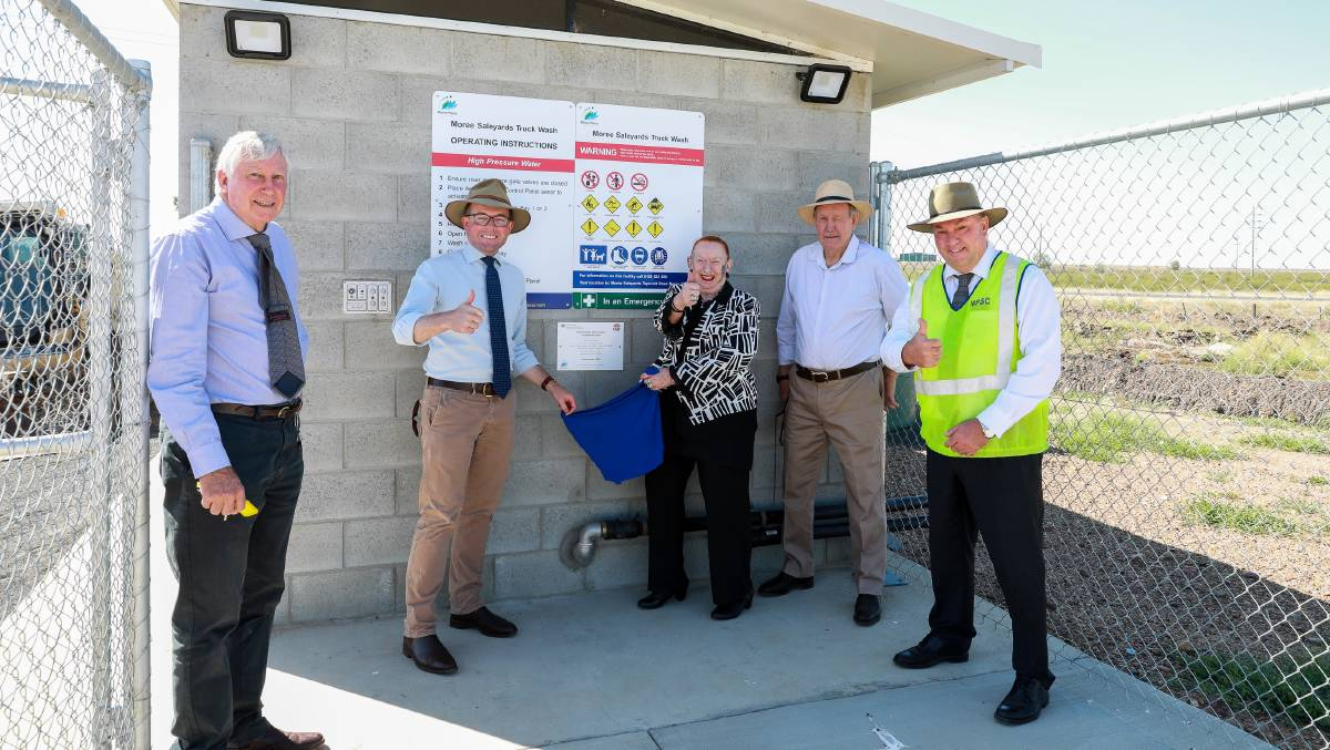 Thumbs up for the new Moree Saleyards Truck Wash, Moree Plains Shire Council project manager Graham Macpherson, Northern Tablelands MP Adam Marshall, councillor Kerry Cassells, councillor Stephen Ritchie and general manager Lester Rogers. Photo: supplied
